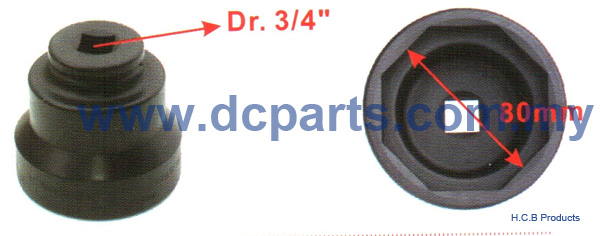 European Truck Repair Tools SCANIA FRONT WHEEL NUT SOCKET Dr. 3/4, 8 POINTS, 80mm B1125